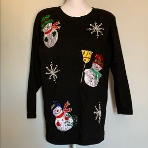 Vintage Beads and Sequins Snowman Christmas Shirt